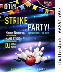 bowling party poster design.... | Shutterstock .eps vector #663615967