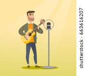 young caucasian guitar player... | Shutterstock .eps vector #663616207