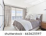 modern master bed with soft... | Shutterstock . vector #663625597
