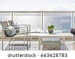 living area including modern... | Shutterstock . vector #663628783