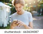 girl using smart phone....   Shutterstock . vector #663634087