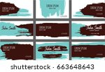 set of nine creative turquoise... | Shutterstock .eps vector #663648643