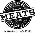 vintage butcher shop meats sign | Shutterstock .eps vector #663655393