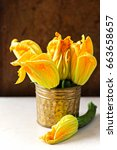edible courgette flowers... | Shutterstock . vector #663658657