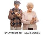 senior couple looking at phones ... | Shutterstock . vector #663660583