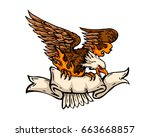 vintage tattoo art illustration ... | Shutterstock .eps vector #663668857