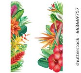 banner from tropical plants and ... | Shutterstock .eps vector #663669757