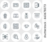 vector illustration of 16 data... | Shutterstock .eps vector #663678373