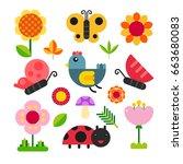 spring  bugs character design   Shutterstock .eps vector #663680083