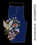 japanese white crane and... | Shutterstock .eps vector #663686953