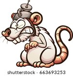 cartoon laboratory white rat.... | Shutterstock .eps vector #663693253