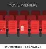 cinema hall red cinema chairs... | Shutterstock .eps vector #663703627