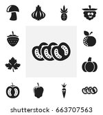 set of 12 editable food icons.... | Shutterstock .eps vector #663707563