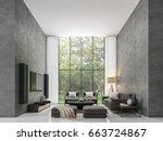 modern loft living room 3d... | Shutterstock . vector #663724867