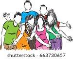group of happy friends vector... | Shutterstock .eps vector #663730657