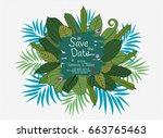 wedding floral card wedding...   Shutterstock .eps vector #663765463