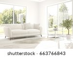 white room with sofa and summer ... | Shutterstock . vector #663766843