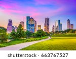houston  texas  usa downtown... | Shutterstock . vector #663767527