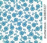 seamless flowers    Shutterstock .eps vector #663805327