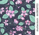 apple flowers tree blossom... | Shutterstock .eps vector #663806953