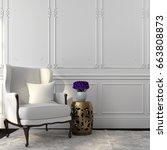 classic interior in white color ... | Shutterstock . vector #663808873