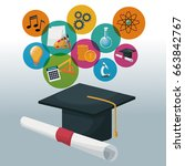 graduation cap and certificate... | Shutterstock .eps vector #663842767