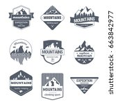 climbing sport  vector set of... | Shutterstock .eps vector #663842977