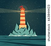 lighthouse lighting way in a... | Shutterstock .eps vector #663844423