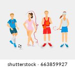 fitness yoga and healthy life... | Shutterstock .eps vector #663859927