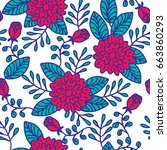 seamless floral pattern  hand... | Shutterstock .eps vector #663860293
