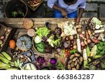 people prepare a fresh vegetable | Shutterstock . vector #663863287