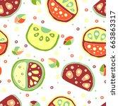 seamless vector hand drawn...   Shutterstock .eps vector #663863317