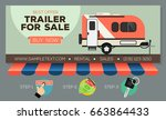 web banner with camping trailer ... | Shutterstock .eps vector #663864433