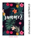 tropical vector postcard design ... | Shutterstock .eps vector #663878413