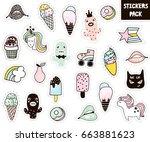 big pop stickers pack.ice cream ... | Shutterstock .eps vector #663881623