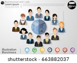 businessman and  lady 12 person ... | Shutterstock .eps vector #663882037