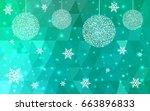 light green christmas postcard... | Shutterstock .eps vector #663896833