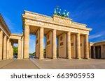 the brandenburg gate in berlin...   Shutterstock . vector #663905953