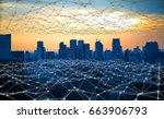 modern city and communication... | Shutterstock . vector #663906793
