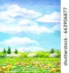 colorful handmade vivid... | Shutterstock . vector #663906877