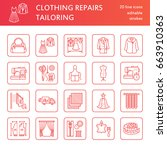 clothing repair  alterations... | Shutterstock .eps vector #663910363