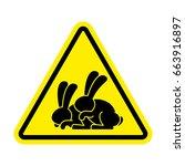attention rabbit sex. caution... | Shutterstock .eps vector #663916897