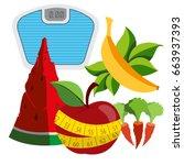 organic farm fresh vegetables.... | Shutterstock .eps vector #663937393
