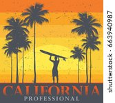 california beach  surfer poster.... | Shutterstock .eps vector #663940987
