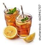 glass of lemon ice tea isolated ... | Shutterstock . vector #663941707