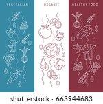 digital blue red vegetable... | Shutterstock .eps vector #663944683
