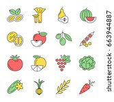 digital vector green vegetable... | Shutterstock .eps vector #663944887