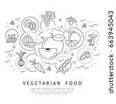 digital vector black vegetable... | Shutterstock .eps vector #663945043