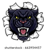 a black panther angry animal... | Shutterstock .eps vector #663954457