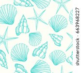 seamless background with shells.... | Shutterstock . vector #663968227